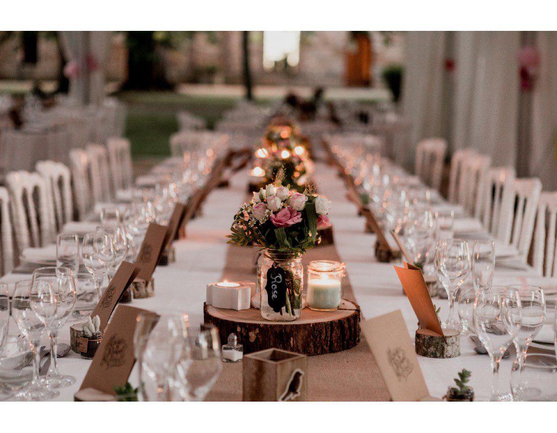 Centre de table champetre pour mariage.
