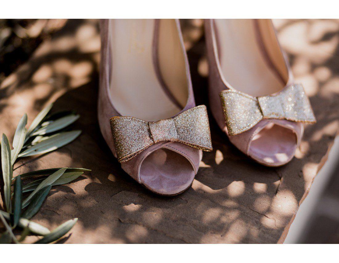 Chausures de la amriée Dessine moi un soulier noeud pailleté.