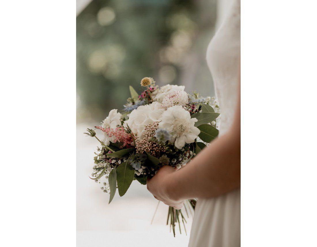 Bouquet de la mariée champetre et pastel.