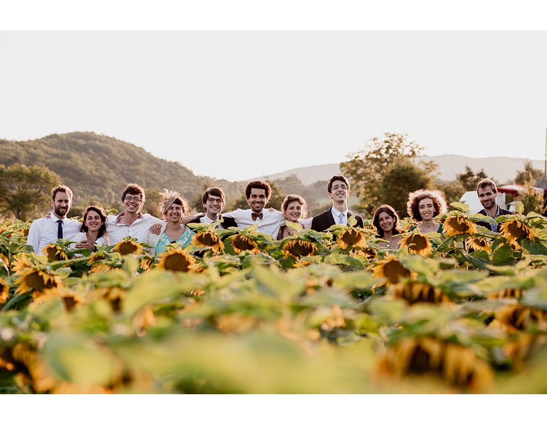 Photo de témoins de mariage dans les tournesols.