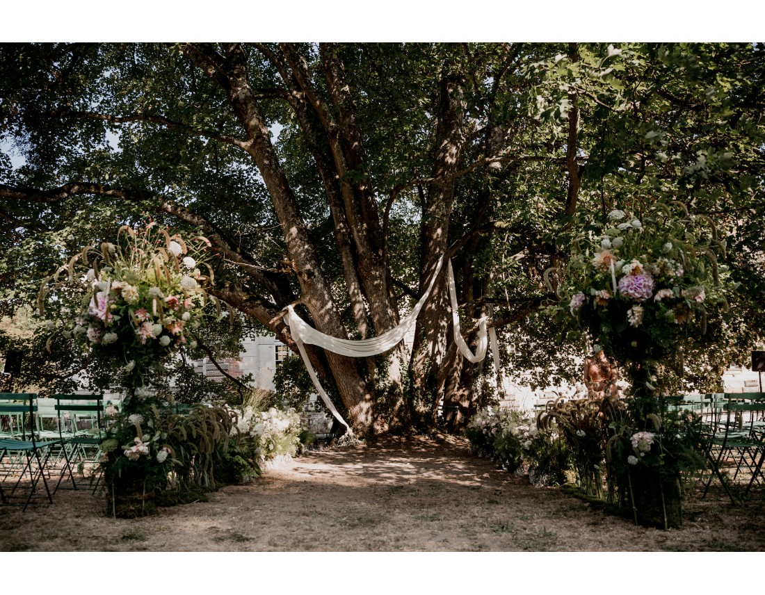 Ceremonie laique sous un arbre magnifique au chateau vallery.