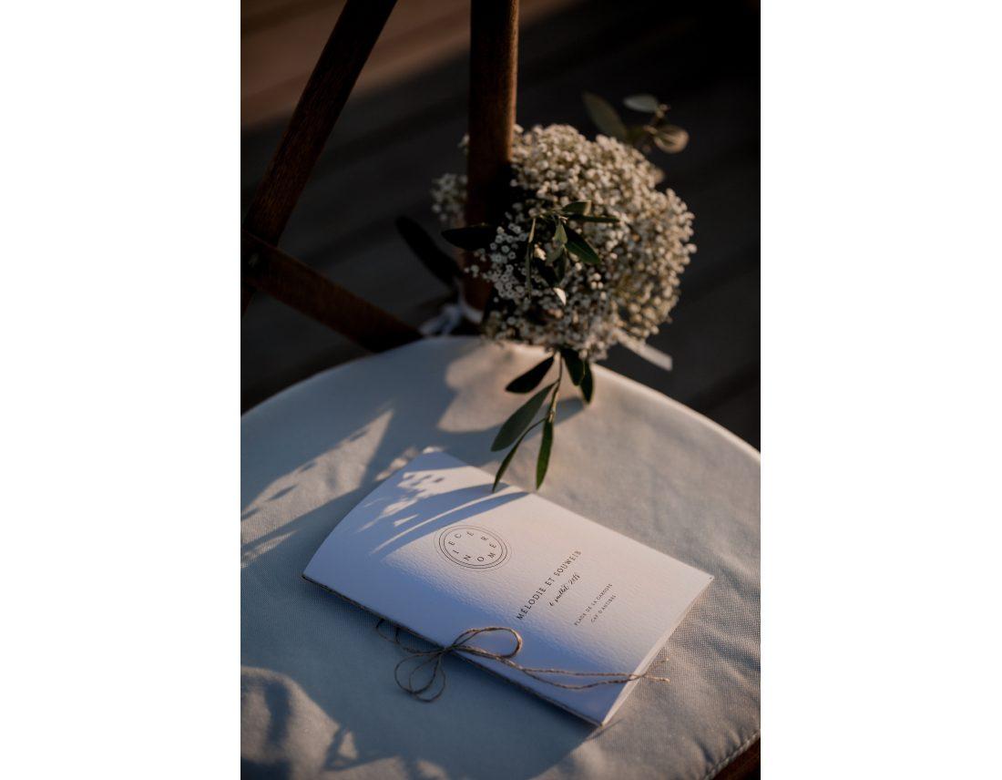 Livret de ceremonie pour mariage laique.